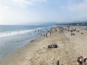 A view of Santa Monica beach from the pier